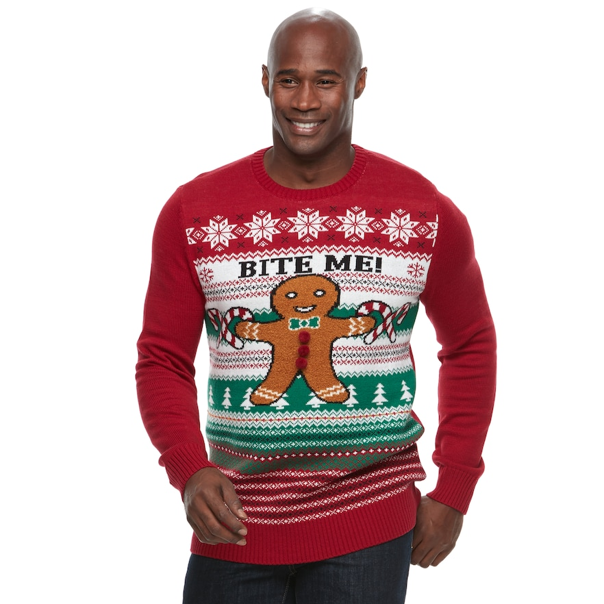 Big And Tall Ugly Christmas Sweater.Big Tall Method Gingerbread Man Bite Me Ugly Christmas Sweater Size L Tall Med Red